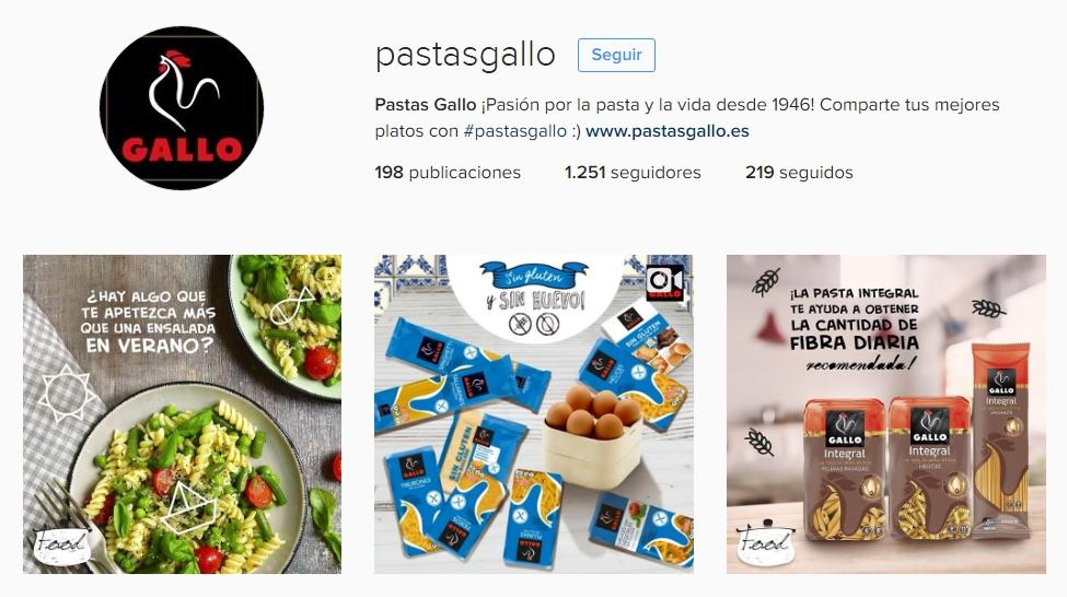 El perfil de Pastas Gallo en Instagram