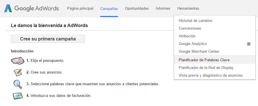 El menú de Google Trends para elegir las keywords