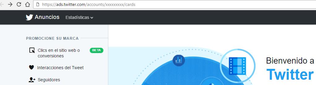 Cómo cambiar la dirección url para acceder a Twitter Cards