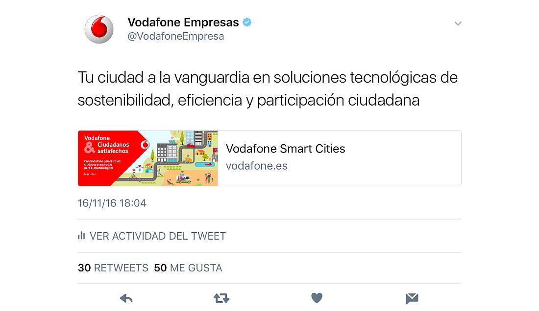 Un ejemplo del uso de Twitter Cards en Vodafone Empresas