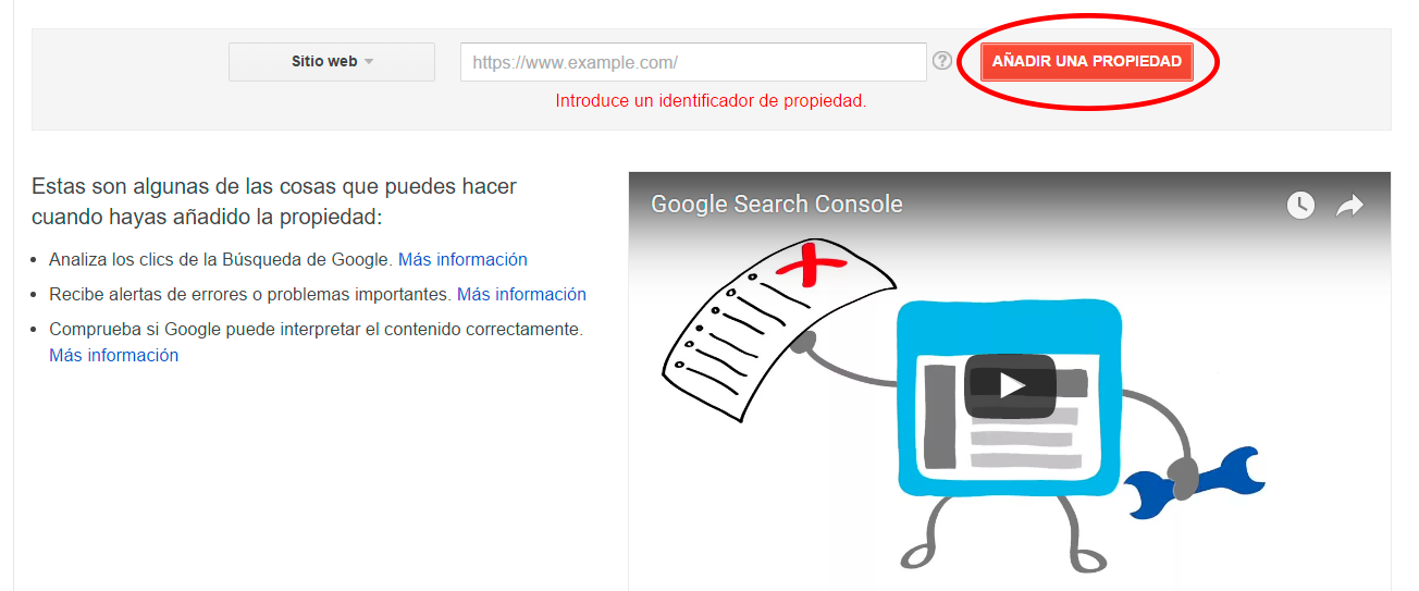 Empieza por identificar tu web en Google Search Console