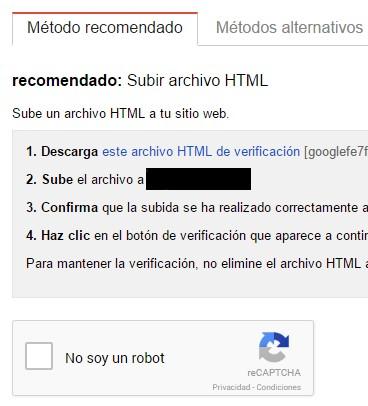 Tienes que verificar la propiedad de tu web en Google Search Control