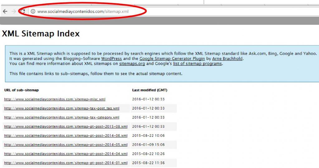 Comprueba si el sitemap está instalado en tu barra del navegador