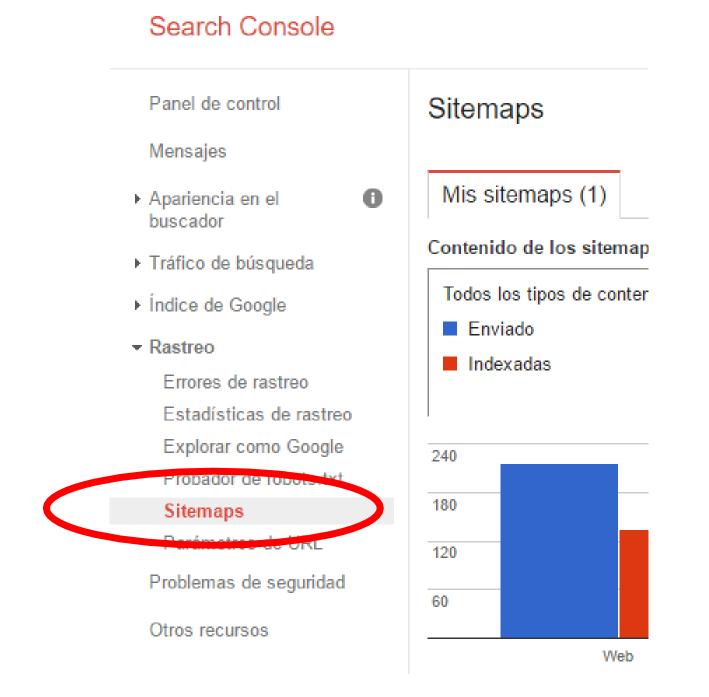 Comunica a Google Search Console que ya tienes tu sitemap
