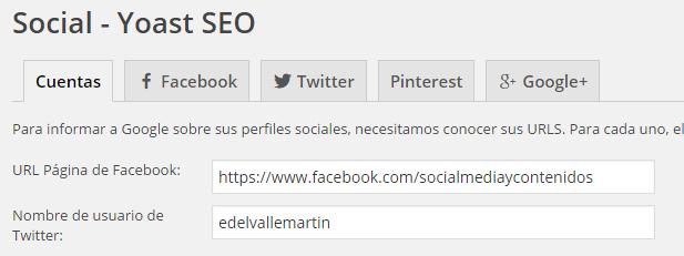 Redes sociales en Yoast SEO