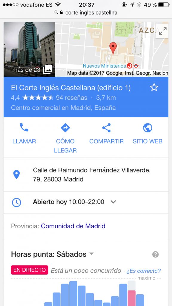 Resultado de busqueda en google maps