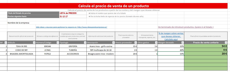 Calcula el precio de venta de un producto