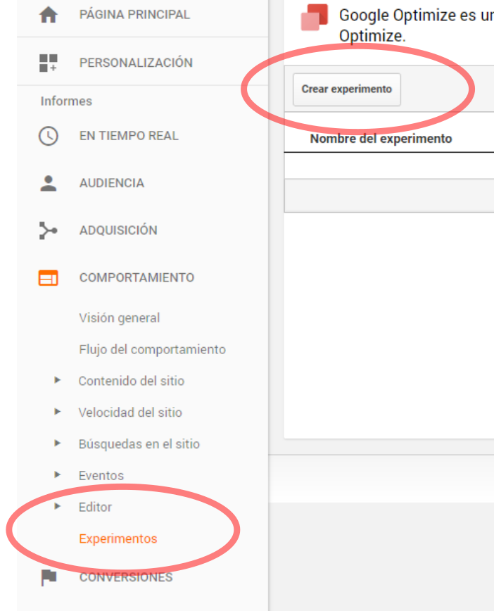 Google Analytics permite seguir el comportamiento de los tests A/B