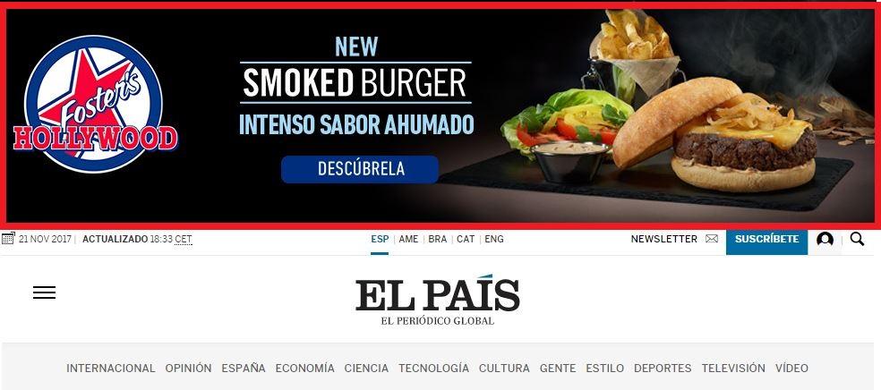 Ejemplo de publicidad de display horizontal