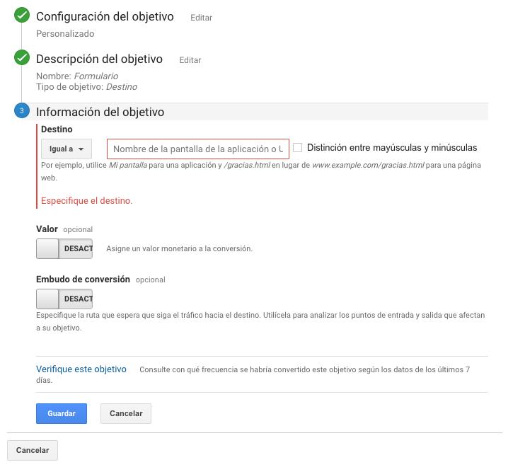 En el paso 3 debes incluir la URL donde se cumple ese objetivo.