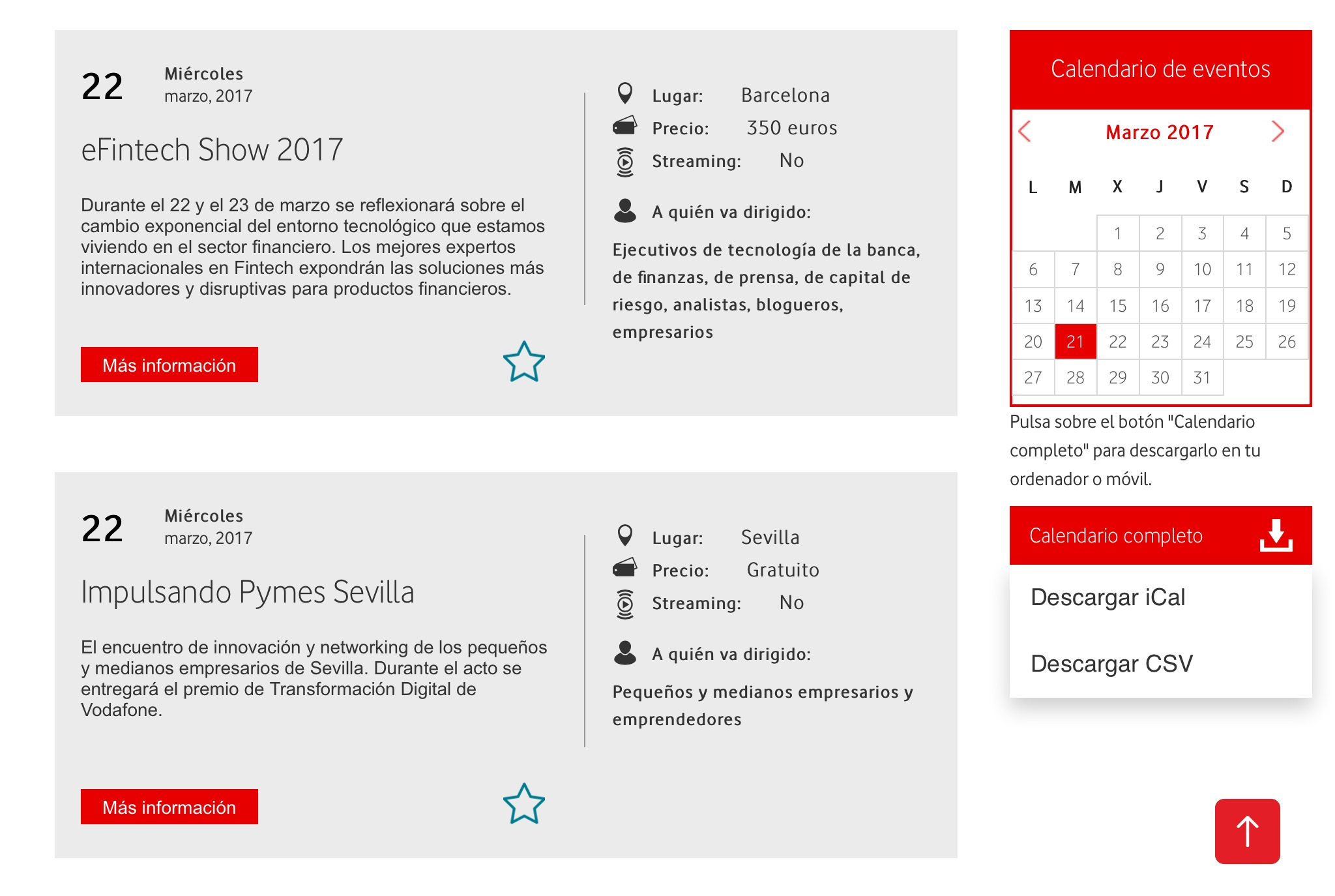 El calendario de eventos de Ideas para tu empresa