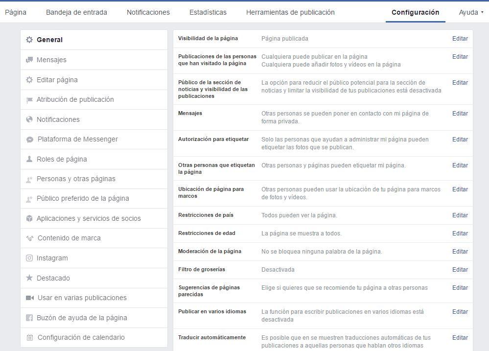 La configuración de la página de Facebook tiene multitud de variables