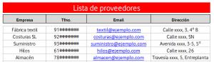 Lista de proveedores