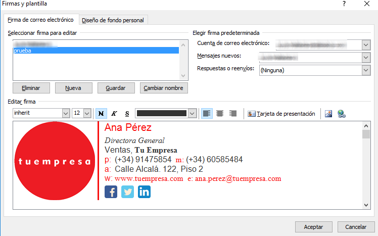 Insertar firma en Outlook