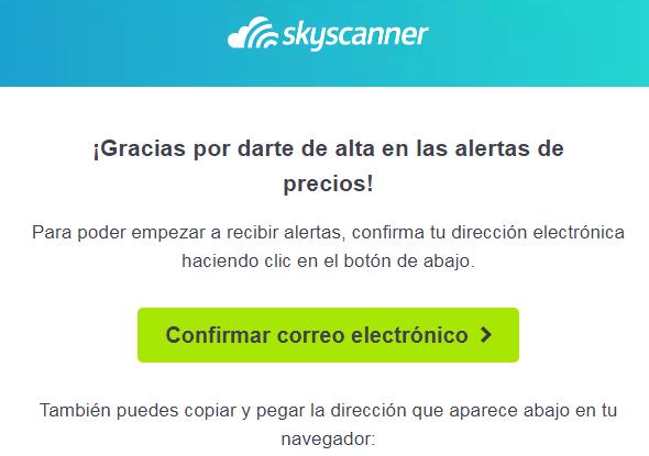 E-mail confirmación Skyscanner