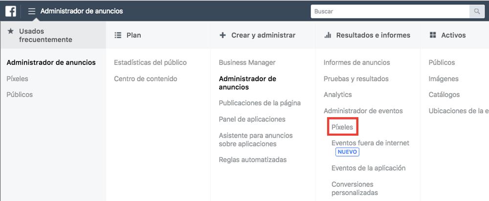 El píxel de Facebook se gestiona en el Administrador de anuncios