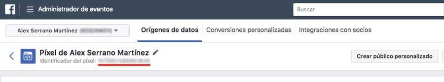 En esta pantalla se gestiona el píxel de Facebook