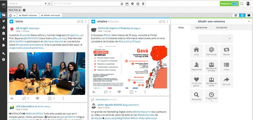 HootSuite te permite organizar la información de tus redes sociales