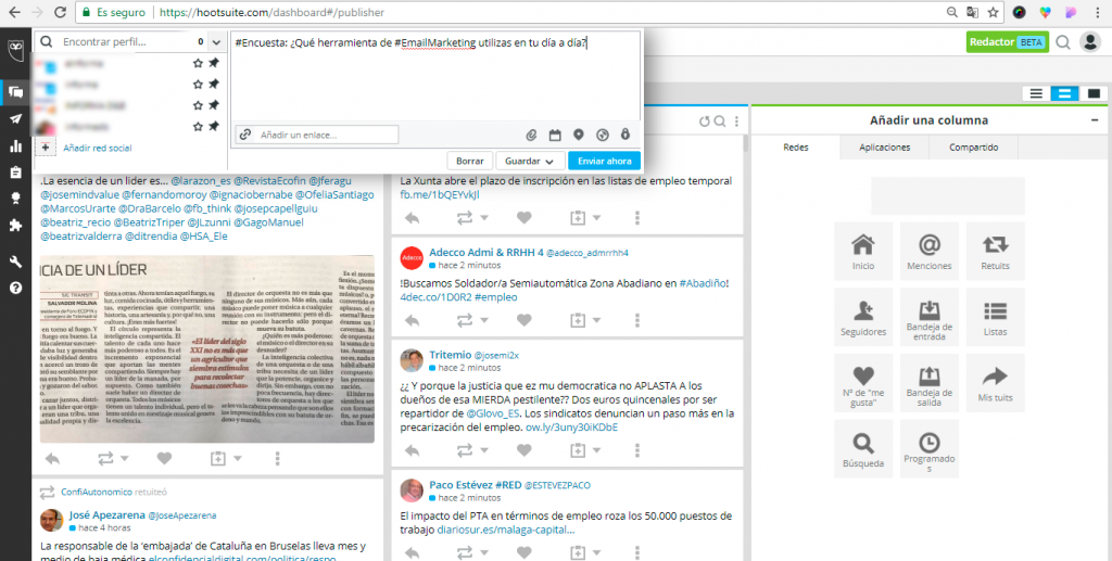 El Editor de HootSuite recoge el detalle las publicaciones