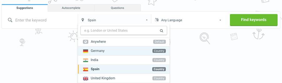 KWfinder puede ayudar a encontrar esas palabras clave en distintos países e idiomas