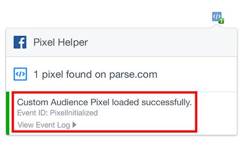 La extensión Facebook Pixel Helper