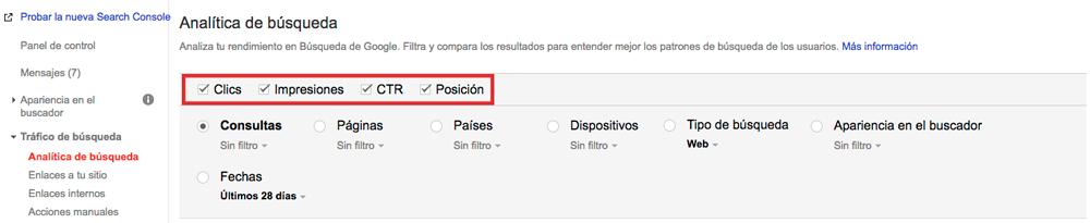 Analítica de búsqueda - Search console