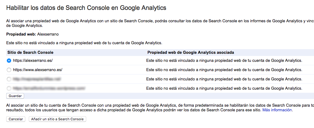 Habilitar los datos de Search Console en Google Analytics
