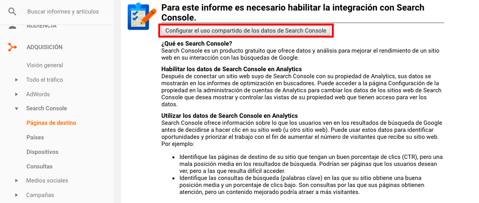 Configurar Search Console en Google Analytics