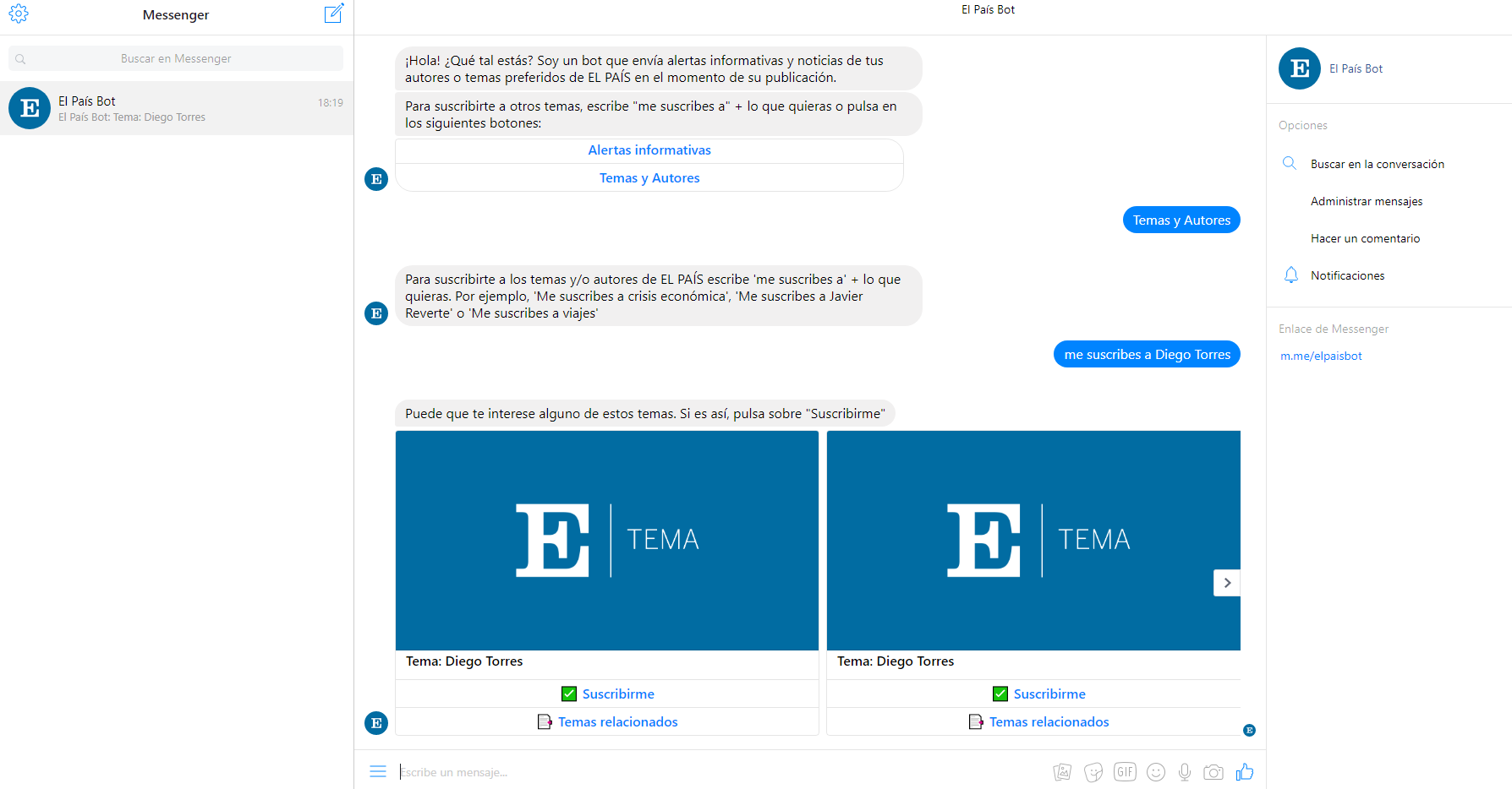 Chatbot El País