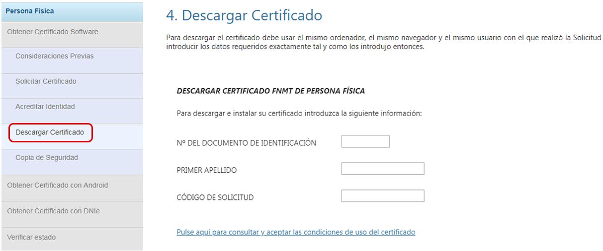 Descargar certificado digital autónomo