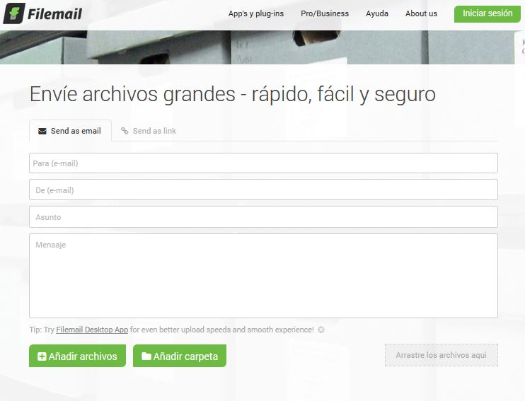 Enviar archivos pesados por Filemail
