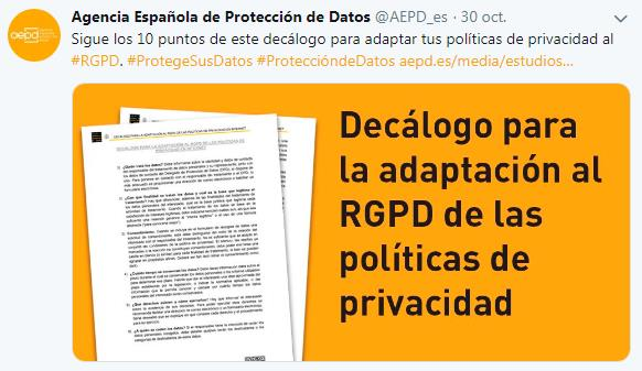 Tuit RGPD AEPD