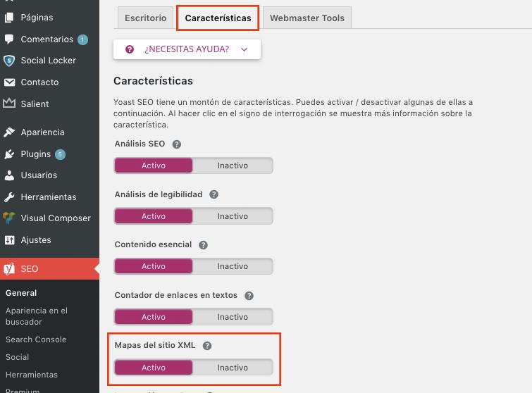 Activar Sitemap en tu web con Yoast SEO