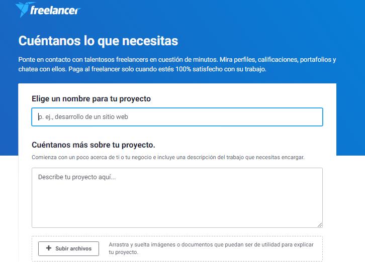 Freelancer - formulario explicación proyecto