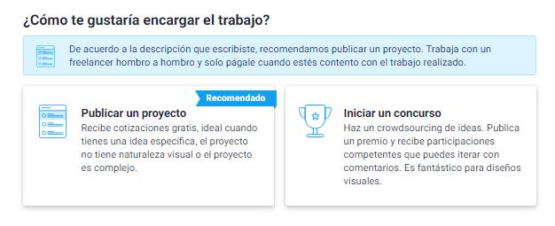 Freelancer - publicación proyecto o concurso