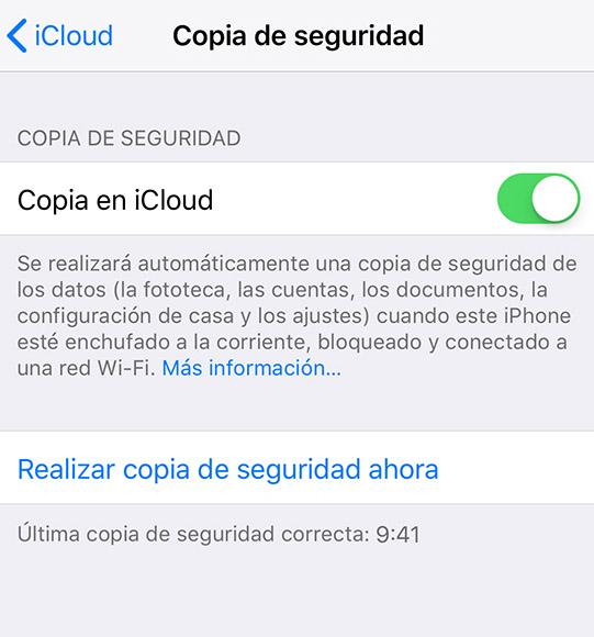 Copia seguridad hora iOS - fecha y hora