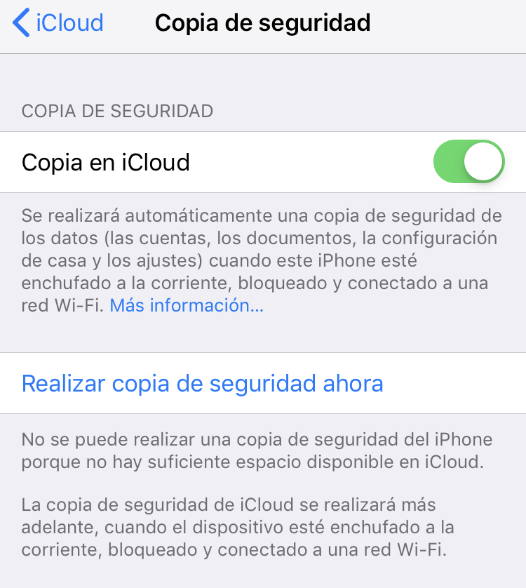 Copia de seguridad iOS - Realizar copia de seguridad ahora