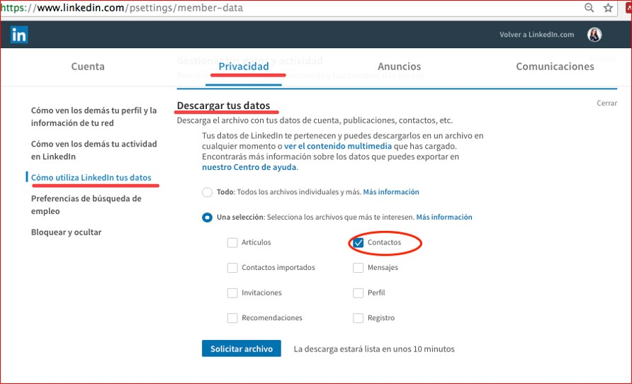 Cómo descargar tus datos en Linkedin