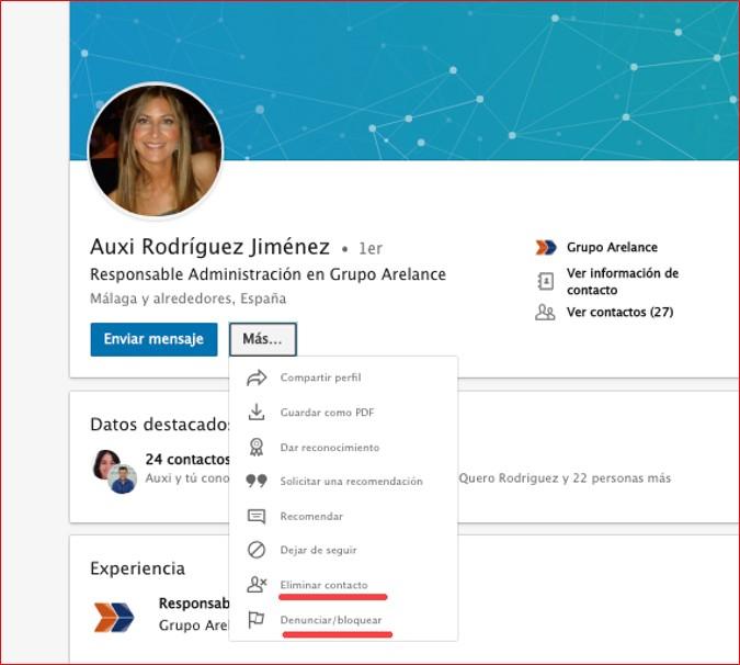 Cómo eliminar o bloquear un contacto en LinkedIn