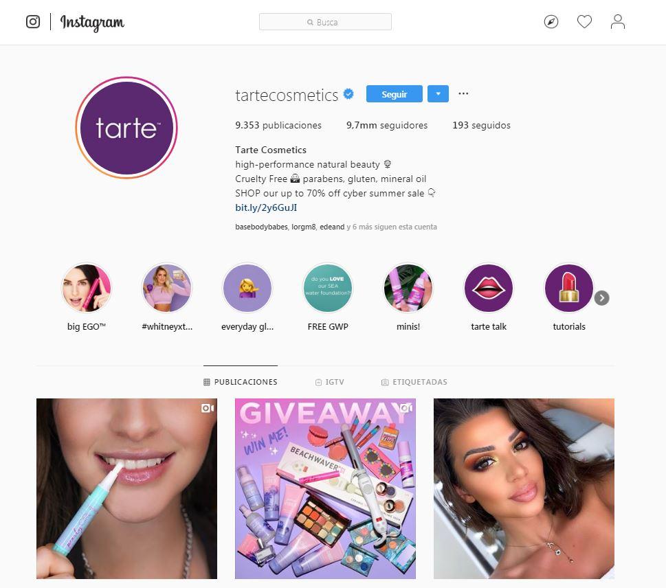 Perfil Tarte Cosmetics