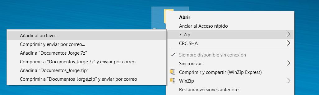 protección de archivos 7zip